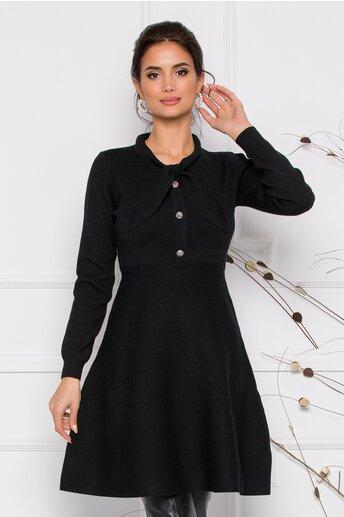 Rochie Mirabela neagra din tricot cu funda la guler