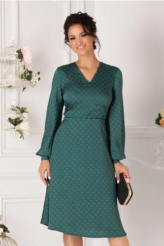 Rochie Mirabela verde cu imprimeuri maro