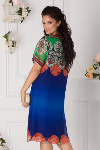 Rochie Mirabella albastra cu imprimeuri verzi si caramizii
