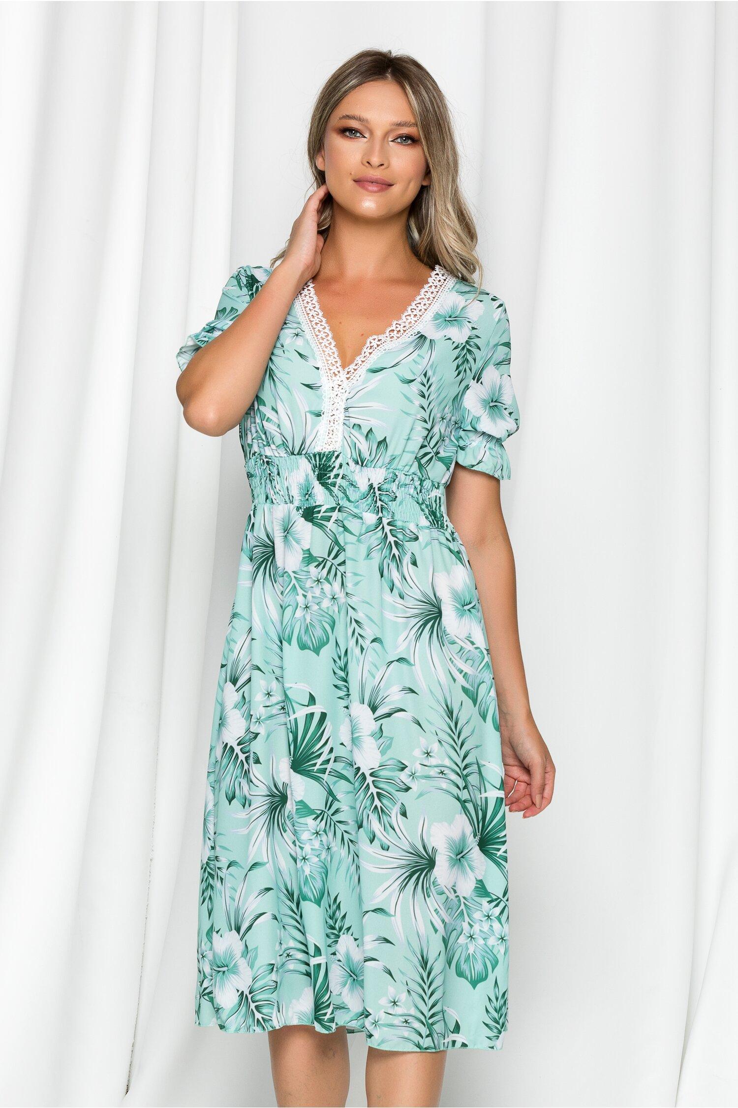 Rochie Mirabella verde cu imprimeu floral si broderie la bust