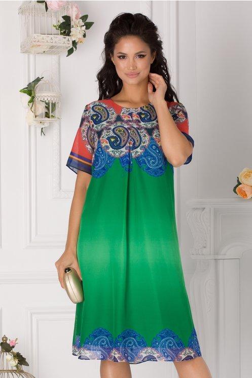 Rochie Mirabella verde cu imprimeuri albastre si caramizii