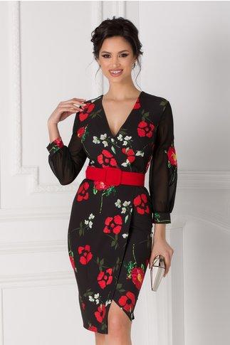 Rochie Miriam neagra petrecuta cu flori rosii
