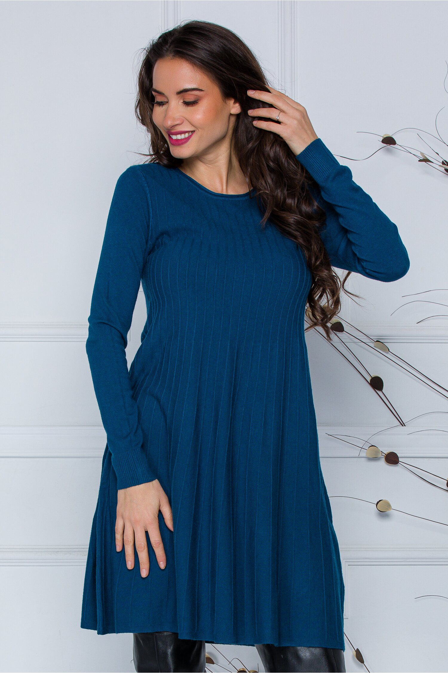 Rochie Miruna albastru petrol din tricot imagine