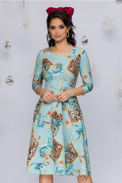 Rochie Miruna bleu cu imprimeu chain