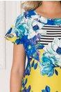 Rochie Miruna cu imprimeu floral colorat si dungi