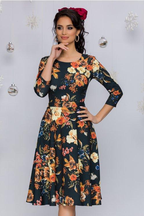 Rochie Miruna neagra cu imprimeu floral orange