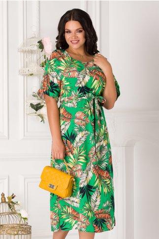 Rochie Miruna verde cu imprimeu exotic