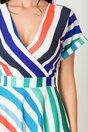 Rochie Misha alba cu dungi colorate