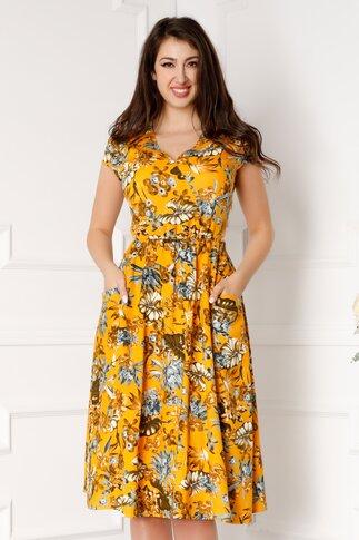 Rochie Misha galbena cu imprimeuri florale