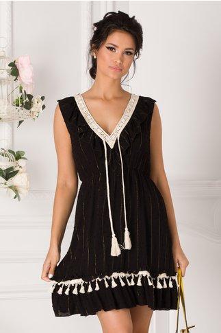 Rochie Misha negru cu ciucuri la bust