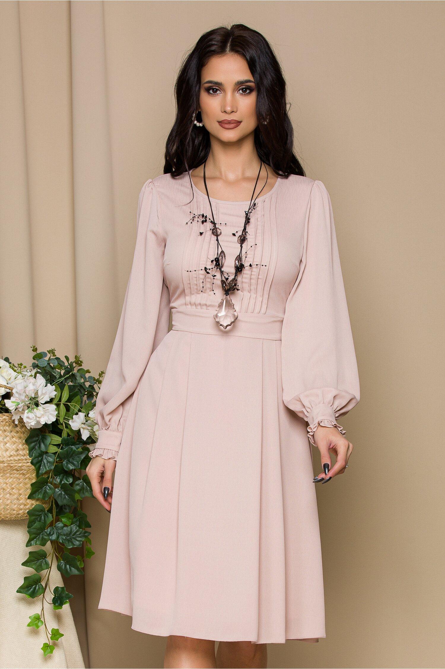 Rochie Misha roz pudrat cu pliuri imagine