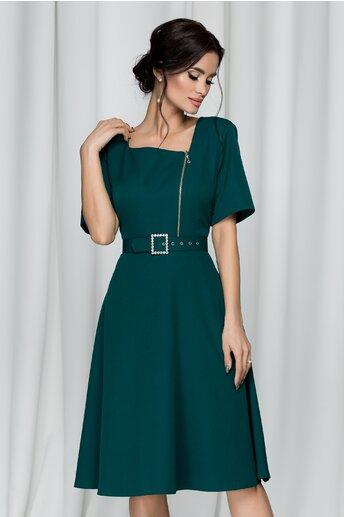 Rochie Misha verde accesorizata cu o curea in talie