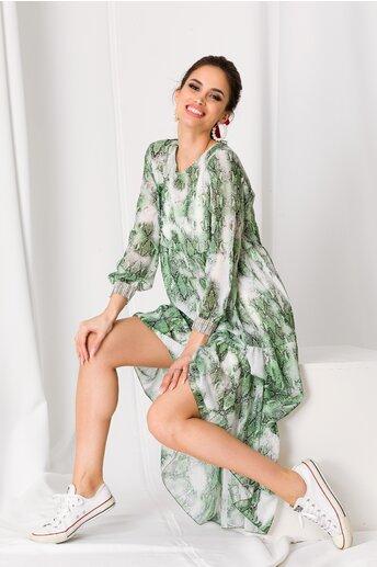 Rochie Misha verde cu print snake