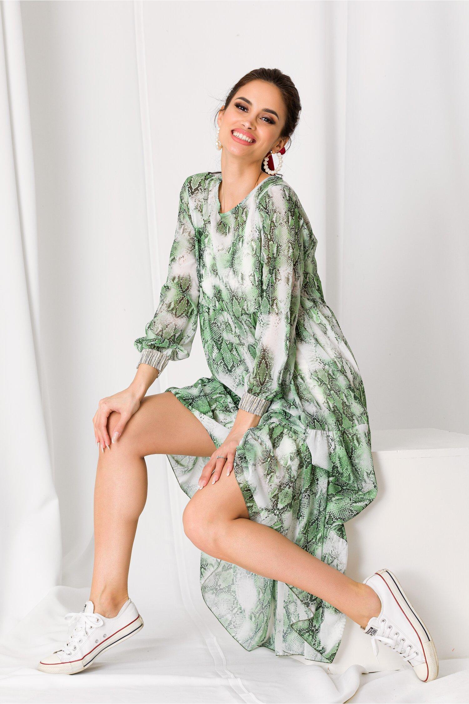 Rochie Misha verde cu print snake imagine dyfashion.ro 2021