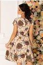 Rochie Missa bej cu imprimeu abstract multicolor