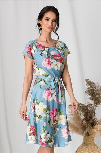 Rochie Missa bleu cu flori roz