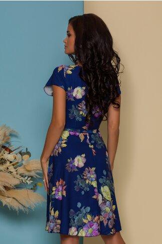 Rochie Missa bleumarin cu imprimeu floral in nuante pastelate