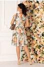 Rochie Missa cu imprimeu floral in nuante de orange si gri