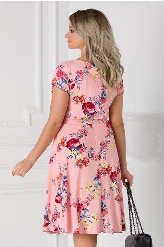 Rochie Missa de vara roz cu imprimeu floral