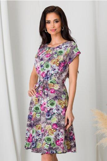 Rochie Missa gri cu trandafiri colorati