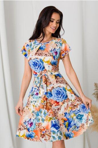 Rochie Missa in nuante de caramiziu cu flori albastre