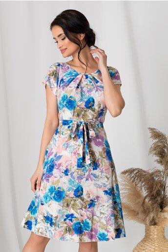 Rochie Missa in nuante pastelate cu flori albastre