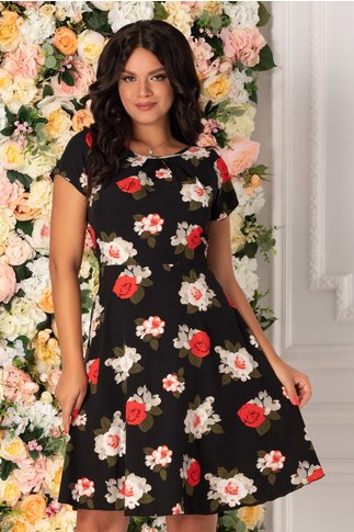 Rochie Missa neagra cu imprimeu floral in nuante de rosu si ivoire