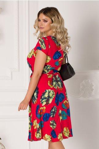 Rochie Missa rosie cu imprimeu floral colorat