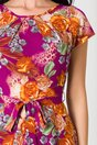 Rochie Missa violet cu imprimeuri caramizii