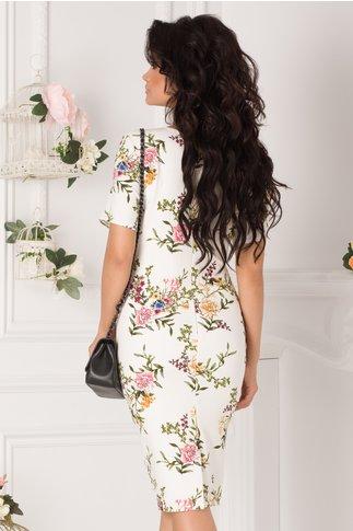Rochie Moira alba cu imprimeuri florale