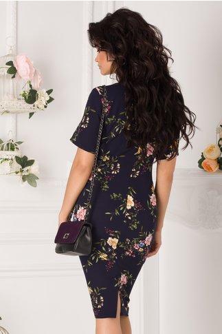 Rochie Moira bleumarin cu imprimeuri florale