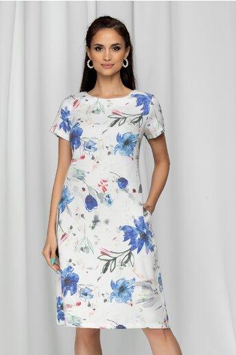 Rochie Mona alba cu imprimeu floral albastru si buzunare