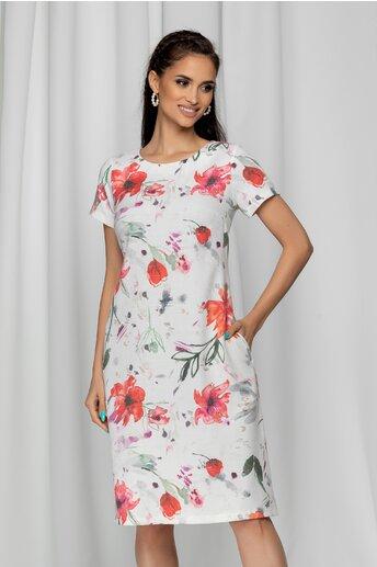 Rochie Mona alba cu imprimeu floral rosu si buzunare