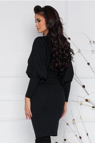 Rochie Mona neagra cu bust lejer si elastic in talie