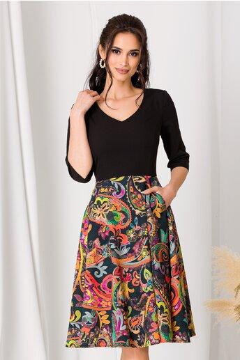 Rochie Mona neagra cu imprimeu floral pe fusta