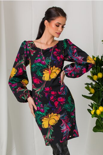 Rochie Mona neagra cu imprimeuri florale multicolore