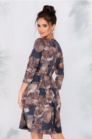 Rochie Monela bleumarin cu imprimeu tomnatic maro
