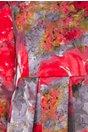 Rochie Monela gri cu rosu cu imprimeu stil pictura