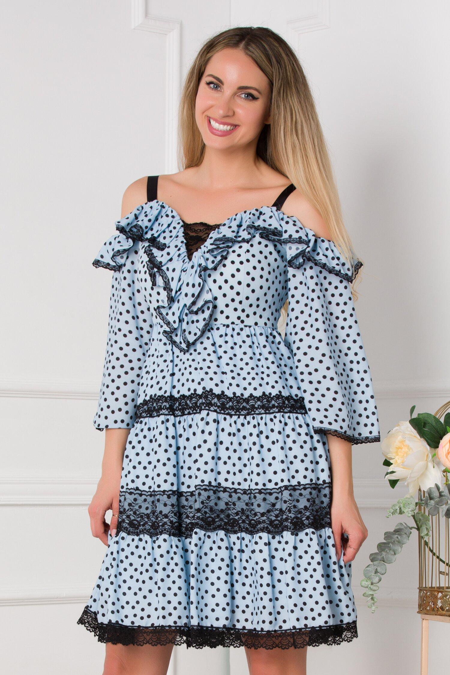 rochie monica bleu cu buline si insertii din dantela 531639 4