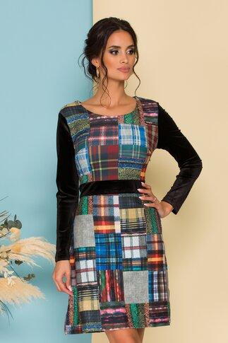 Rochie Monica din catifea cu imprimeuri diverse colorate