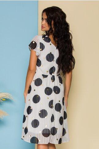 Rochie Moze alba cu design in dungi si buline
