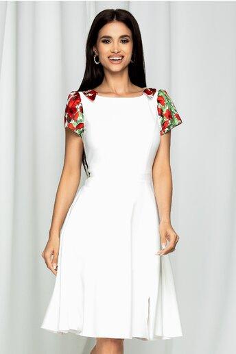 Rochie Moze alba cu imprimeu floral la umeri si decolteu cu guler