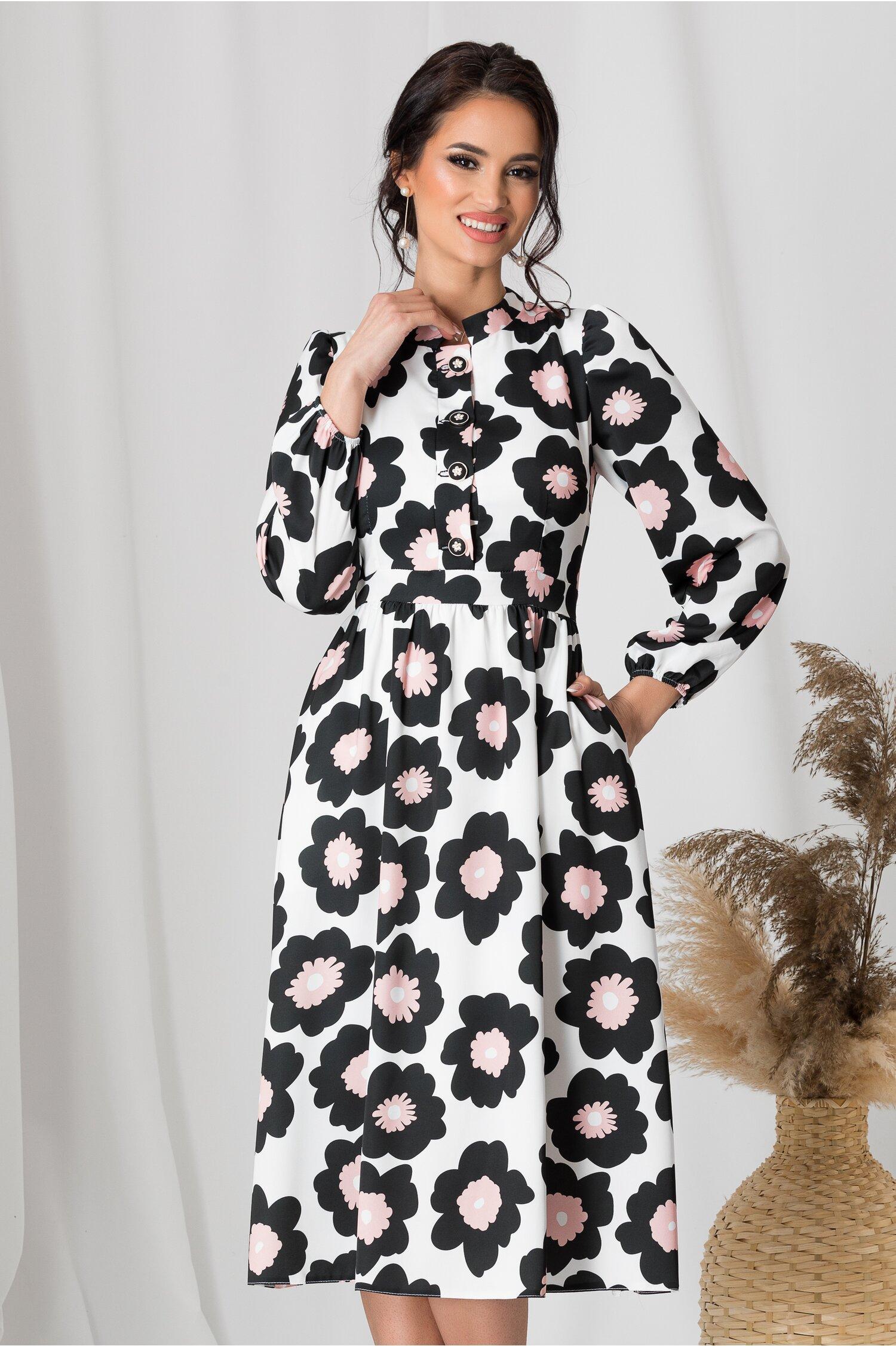 Rochie Moze alba cu imprimeu floral negru si roz