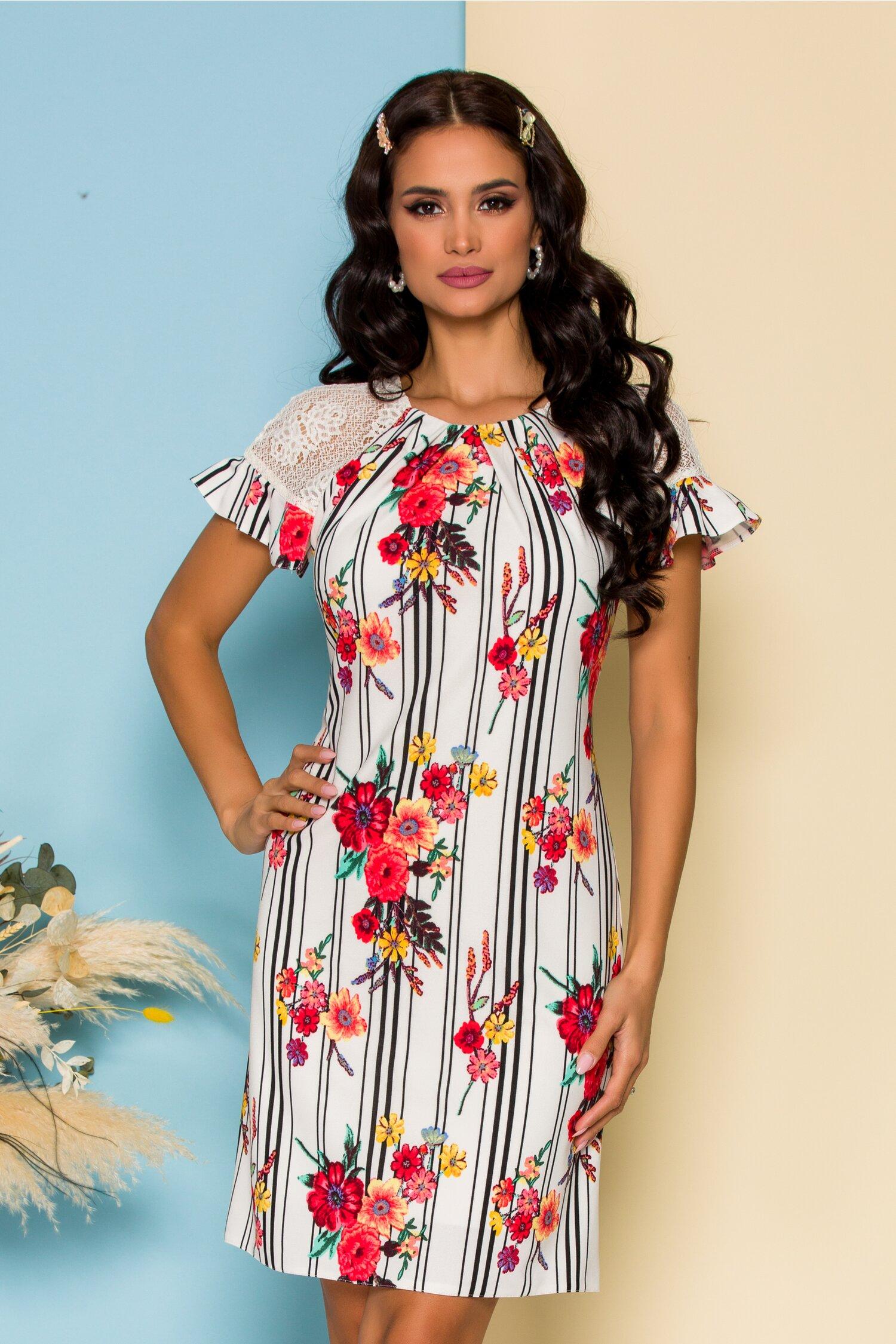 Rochie Moze alba cu imprimeu floral si maneci din dantela