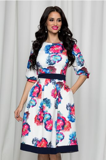 Rochie Moze alba cu imprimeuri florale colorate