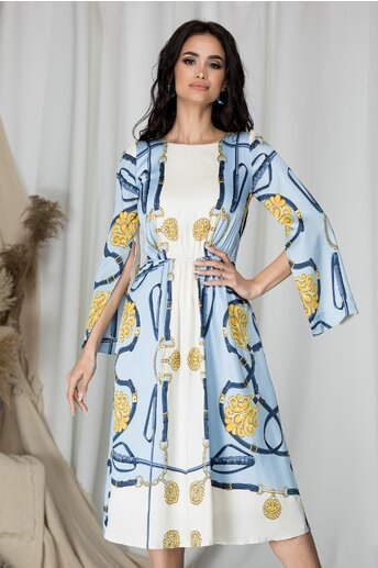 Rochie Moze alba eleganta cu imprimeu si maneci lungi