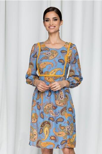Rochie Moze albastra accesorizata cu ciucuri discreti si imprimeu