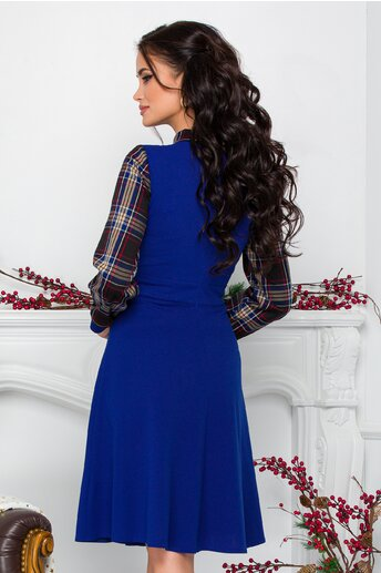 Rochie Moze albastra cu carouri la bust si maneci