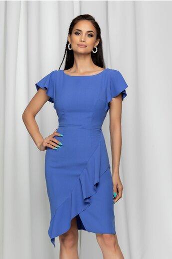 Rochie Moze albastra cu design petrecut cu volanas