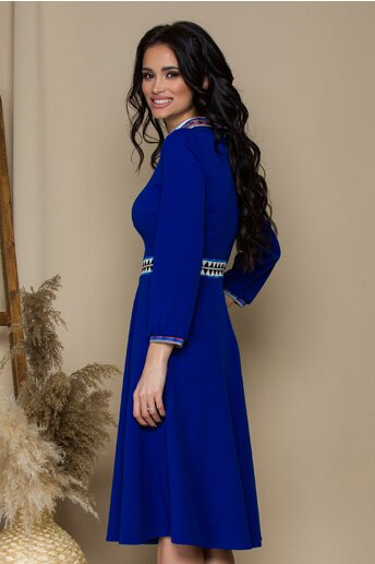Rochie Moze albastra cu guler tip camasa si imprimeu geometric